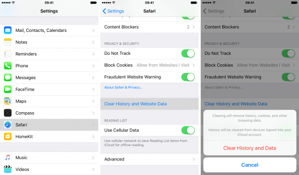 how to delete history on iphone 5