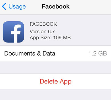 iphone facebook cache