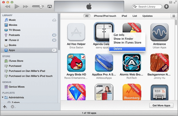 delete apps via itunes