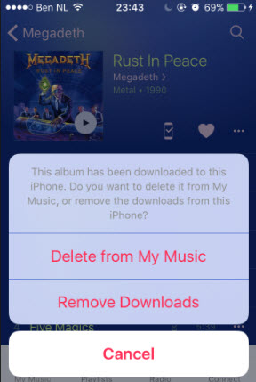delete from my music
