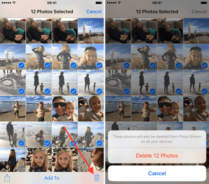 delete photos from iphone albums