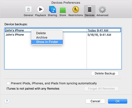 Delete iPhone WhatsApp Backup in iTunes