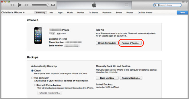 how to reset password on iphone 5 with itunes