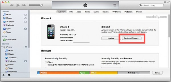Unlock A Locked iPhone using itunes