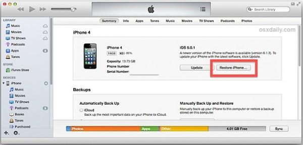 Débloquer un iPhone verrouillé à l'aide d'itunes