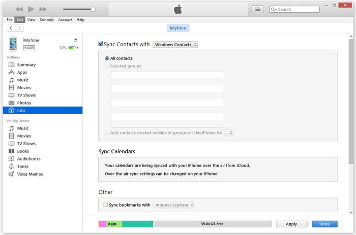 Export iPhone contacts to CSV using iTunes