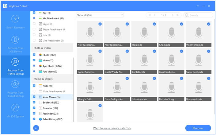 extract the voice memos
