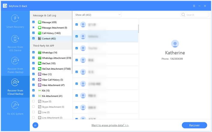 preview and select the iCloud contacts