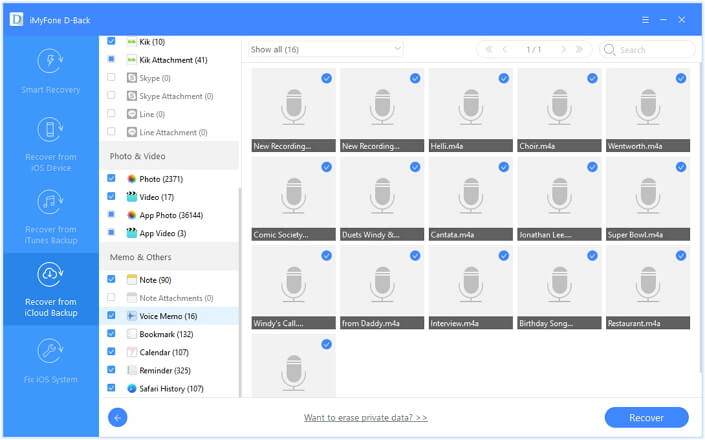 preview and then select the voice memos