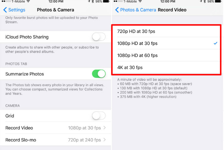 Reduce iPhone Camera Resolution
