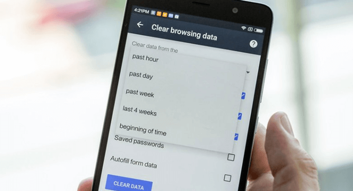 clear browser history android