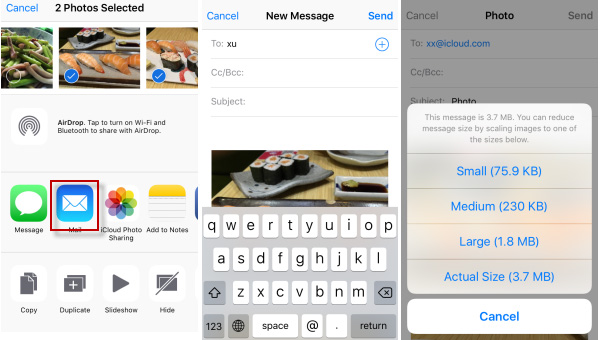 reduce iphone video file size via mail