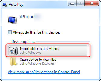 save photos and videos on iPhone via Auto Play