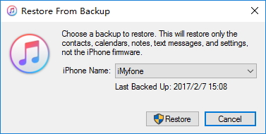 choose a itunes backup to restore
