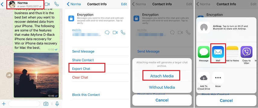 export whatsapp via email