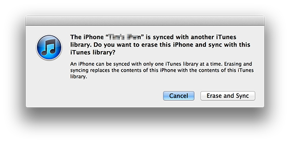 iphone synced with another itunes library