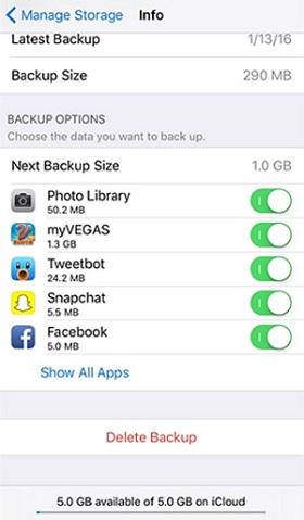 delete backup on iCloud