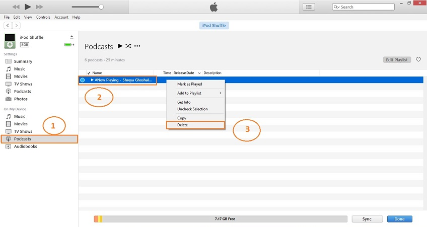 delete podcasts with itunes