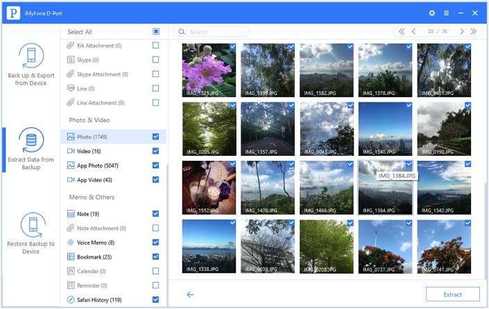 preview all photos and export the photos you want