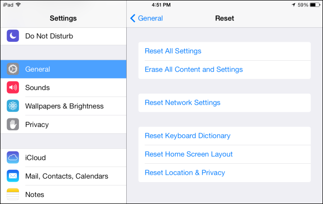 reset all settings ipad