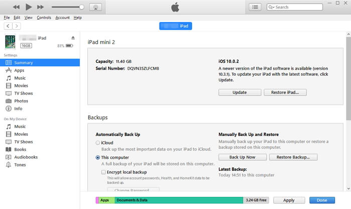 backup iPad with iTunes