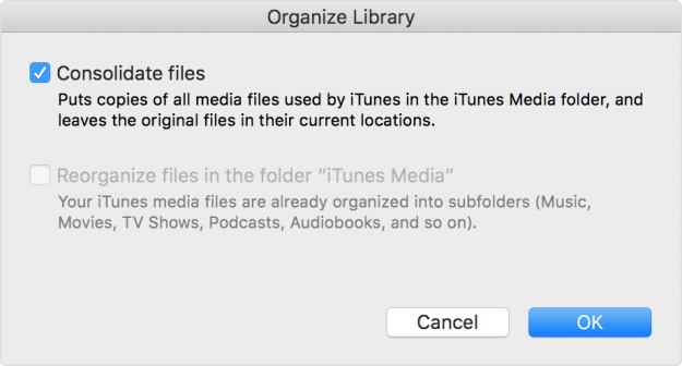 Consolidate Media Files in iTunes Library