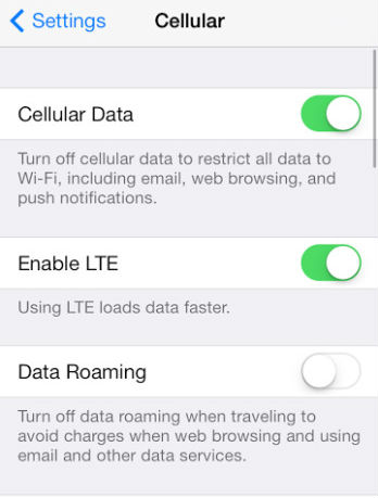 enable lte on iphone