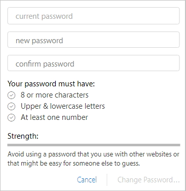 Enter your current password and the new one