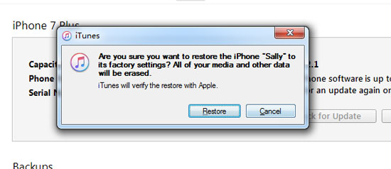 reset iPhone without apple id password via iTunes