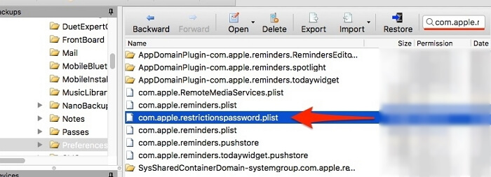 find com.apple.restrictionspasscode.plist