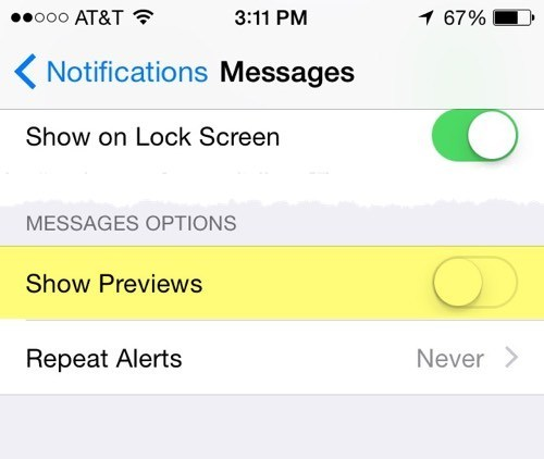 hide text messages preview on iPhone