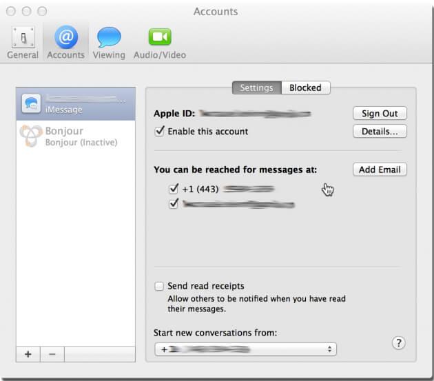 set up iMessage account on Mac