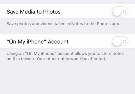 iPhone notes locally stored