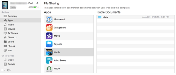 iTunes File sharing Kindle