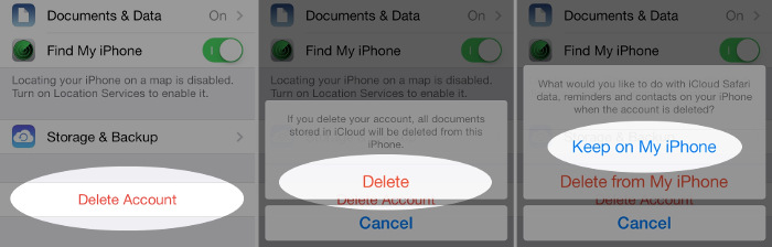 remove existing iCloud account from iOS