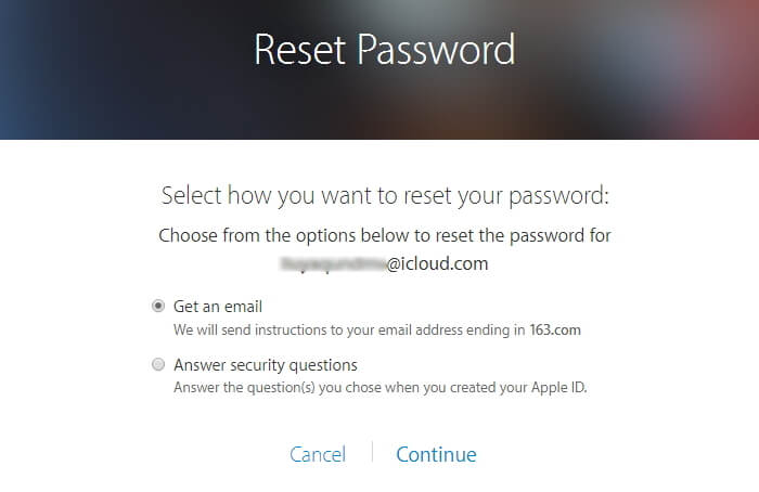 choose how you want to reset your password