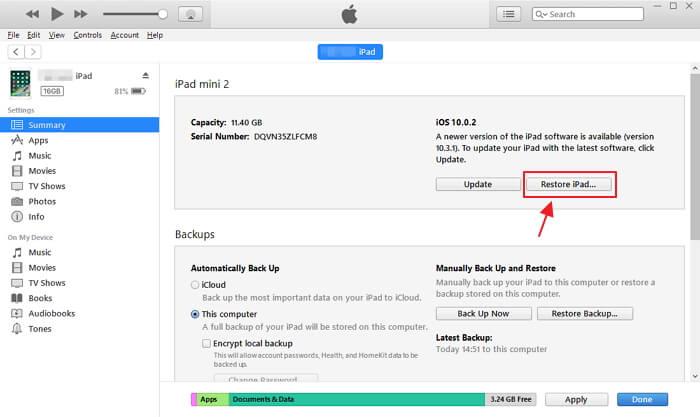 回復iPad