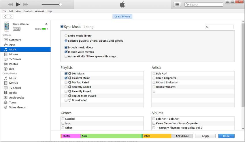 synchroniser la musique vers iTunes