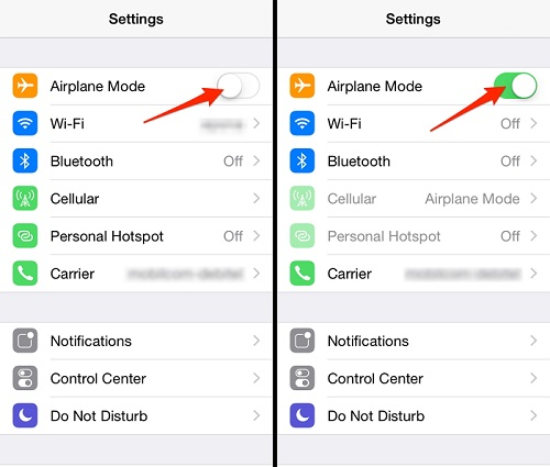 Toggle Airplane Mode on and Off