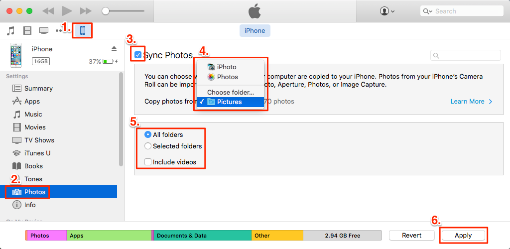 transfer iPhone camera roll to mac with iTunes