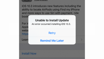 unable to install update