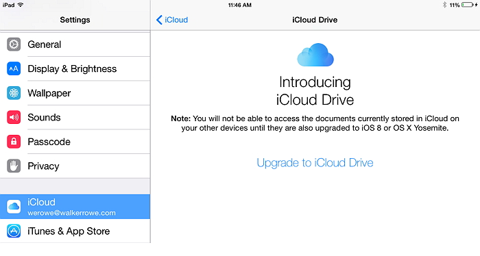 upgrade to iCloud drive