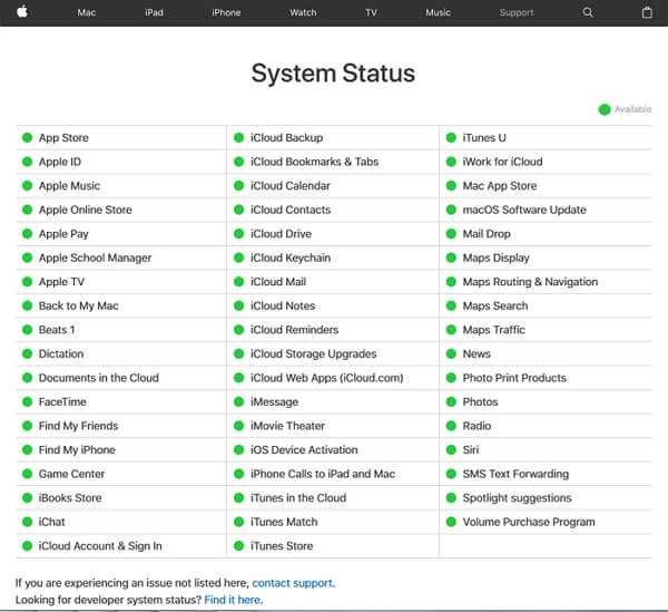 check apple system status page