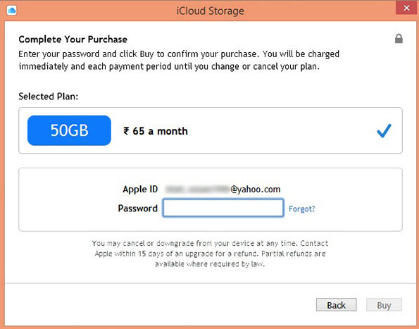 Cancel iCloud Storage Plan on PC