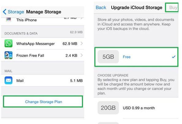change iCloud storage Plans