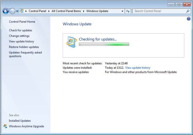 update the system of Windows