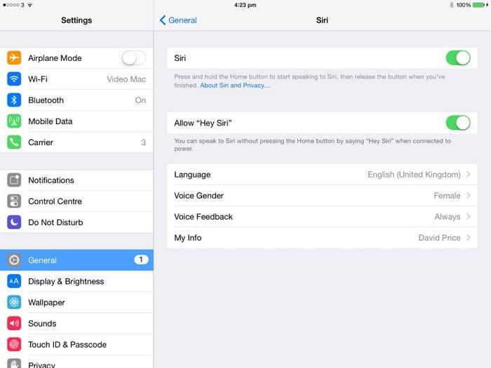 choose Siri language on iOS