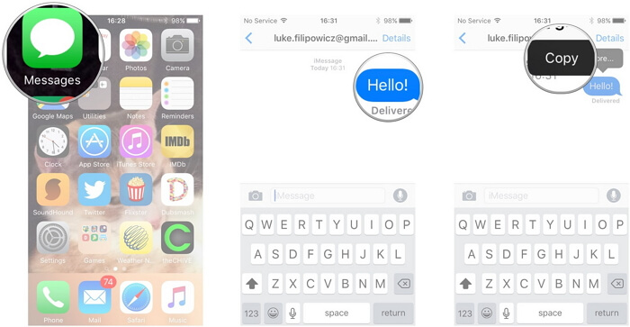 copy iPhone messages