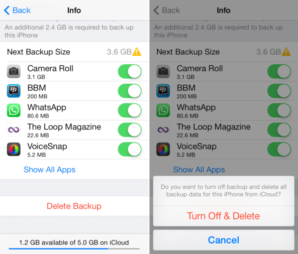 delete backup from iCloud