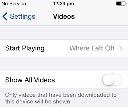 hide videos from iCloud